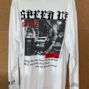 White long sleeve graphic t-shirt Size:L